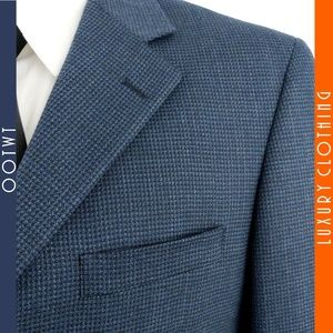 ANDREW FEZZA 39S Blue Black Wool Sport Coat Blazer